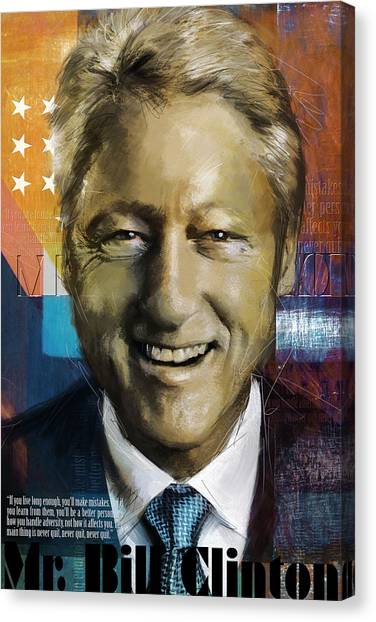 University Of Arkansas University Of Arkansas Canvas Print - Bill Clinton by Corporate Art Task Force