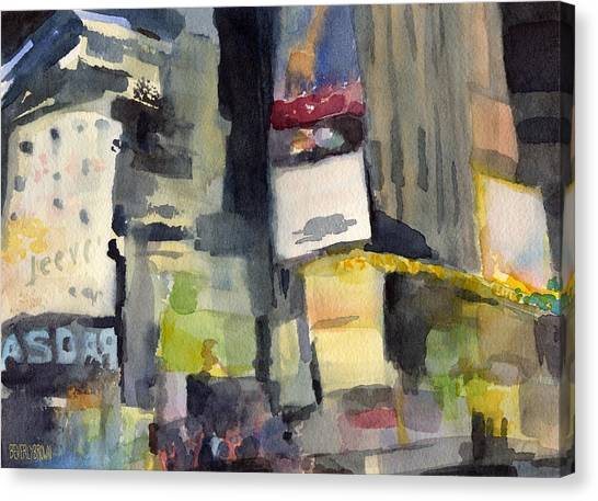 Billboards Times Square At Night Watercolor Painting Of Nyc Canvas Print
