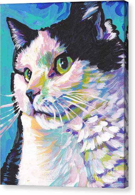 Tuxedo Canvas Print - Billi Cat Baby by Lea S