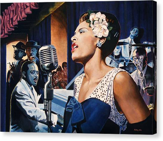 Microphones Canvas Print - Billie Holiday - Lady Sings The Blues by Jo King