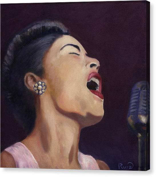 Billie Holiday Canvas Print by Linda Ruiz-Lozito