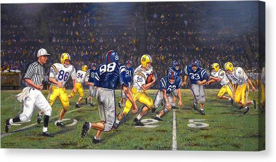 Ball State University Canvas Print - Billy Cannon's Halloween Heisman Haul by Mike Roberts