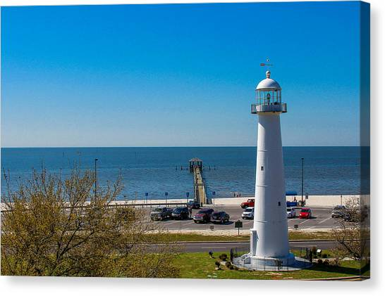 Biloxi Lighthouse And The Gulf Of Mexico Canvas Print