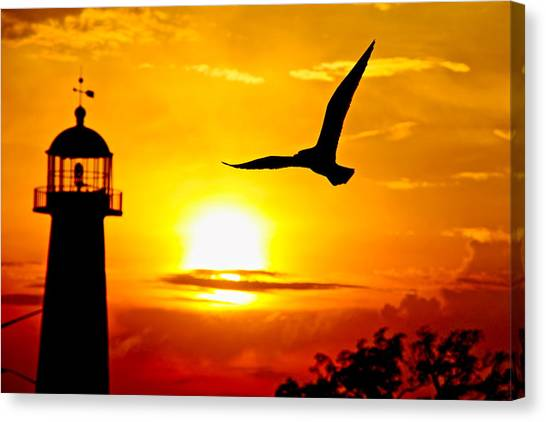 Biloxi Lighthouse Sunset Canvas Print