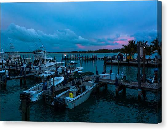 Bimini Big Game Club Docks After Sundown Canvas Print