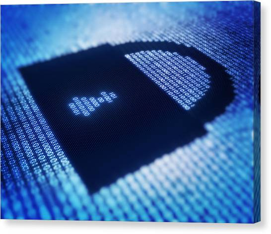 Lock Canvas Print - Electronic Data Security by Johan Swanepoel