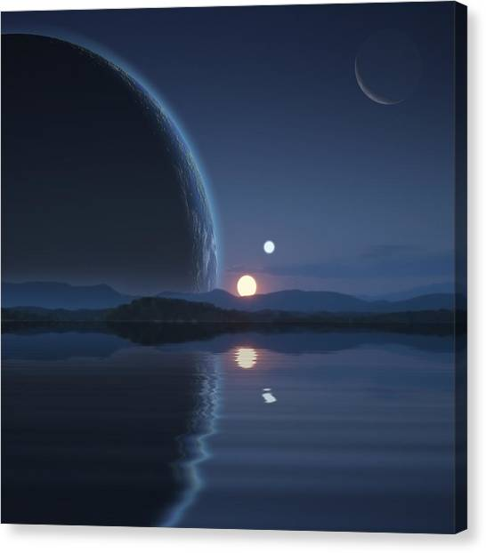 Binary Sunset No.2 Canvas Print