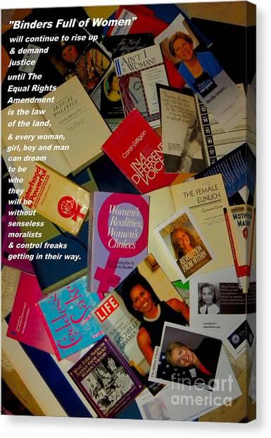 Elizabeth Warren Canvas Print - Binders Full Of Women by Perry Conley