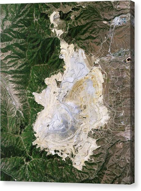 Satellite Canvas Print - Bingham Canyon Mine Landslide by Nasa Earth Observatory/jesse Allen And Robert Simmon/eo-1 Team/national Agricultural Imagery Program