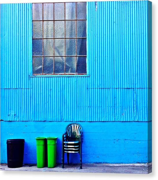 Blue Canvas Print - Bins And Chairs by Julie Gebhardt