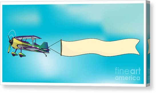 Speed Canvas Print - Biplane Aircraft Pulling Advertisement by Milat oo