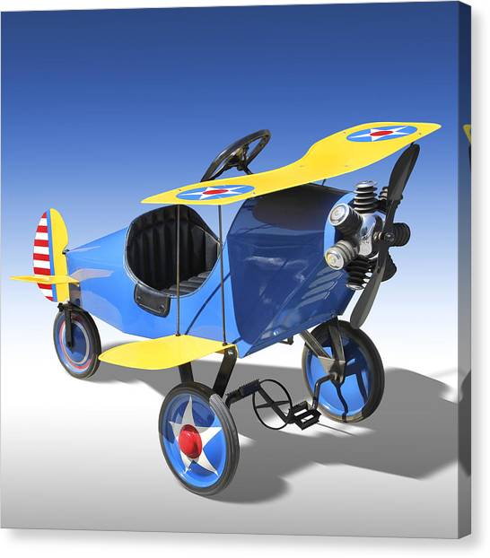 Toy Airplanes Canvas Print - Biplane Peddle Car by Mike McGlothlen