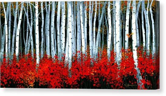 Artist Michael Swanson Canvas Print - Birch 24 X 48  by Michael Swanson