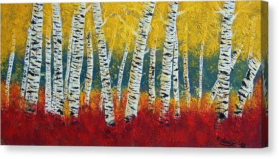 Birch Fall Canvas Print by Peter Kallai