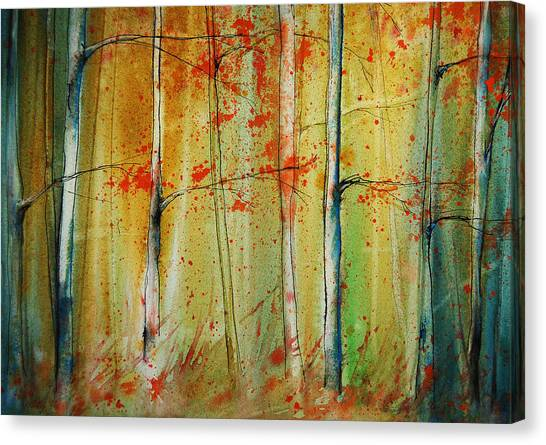 Canvas Print featuring the painting Birch Tree Forest I by Jani Freimann