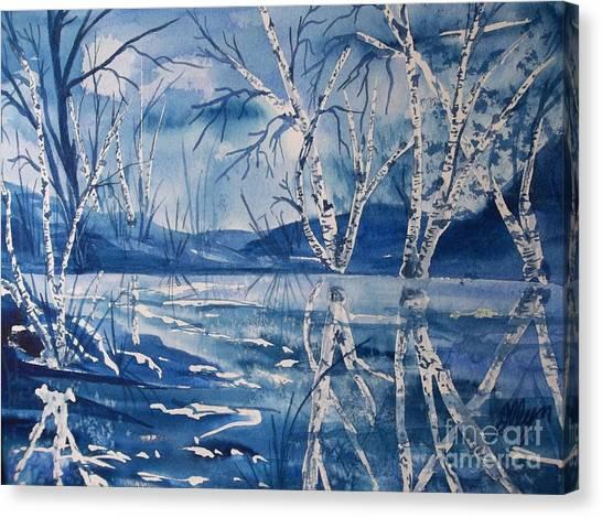 Birches In Blue Canvas Print