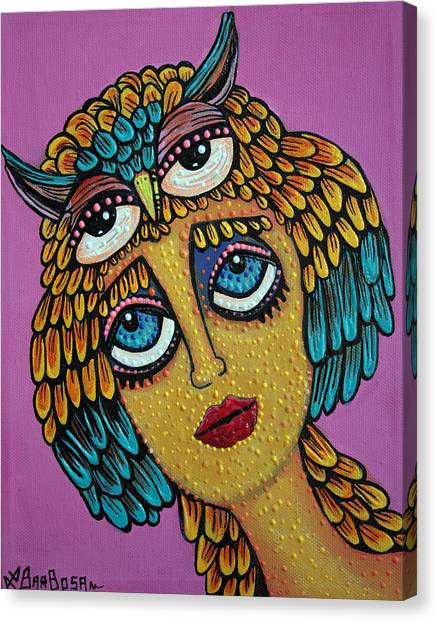 Owl Canvas Print - Bird Brain by Laura Barbosa