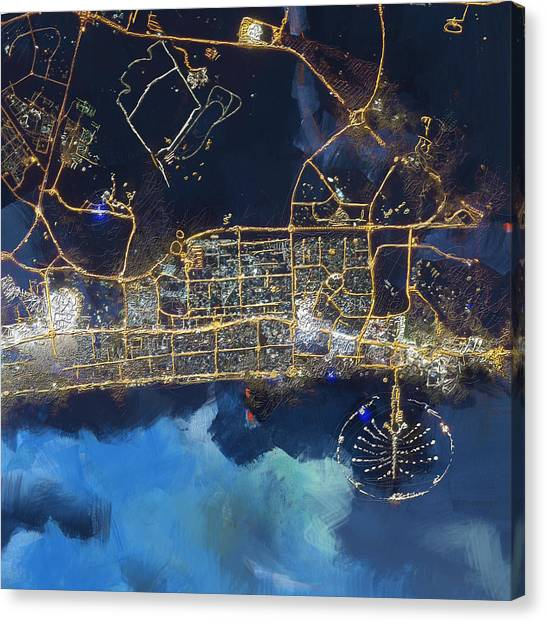 Dubai Skyline Canvas Print - Bird Eye View - Dubai B by Corporate Art Task Force