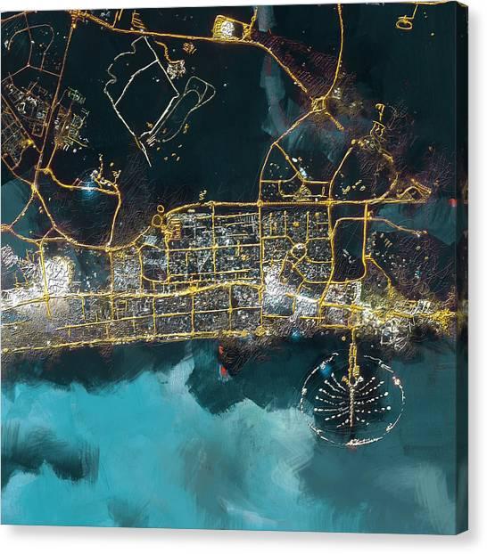 Dubai Skyline Canvas Print - Bird Eye View - Dubai by Corporate Art Task Force