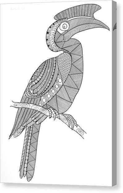 Hornbill Canvas Print - Bird Hornbill by Neeti Goswami