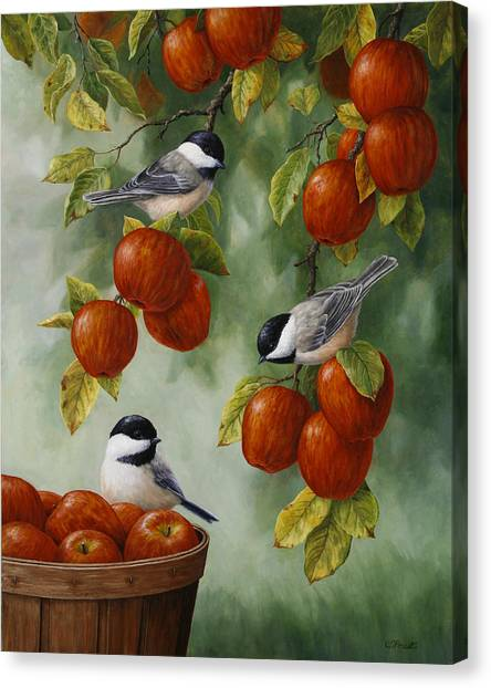 Fruit Baskets Canvas Print - Bird Painting - Apple Harvest Chickadees by Crista Forest