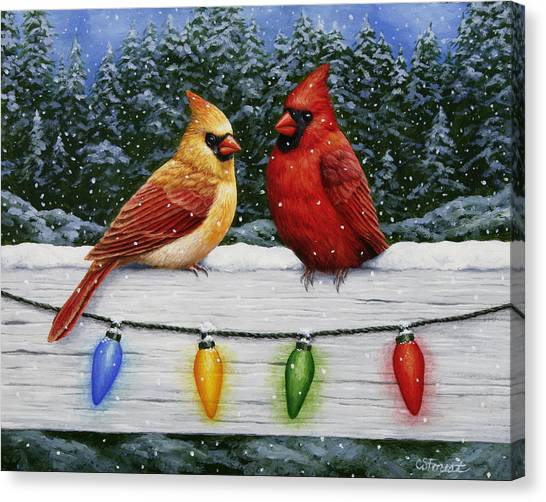 Christmas Lights Canvas Print - Bird Painting - Christmas Cardinals by Crista Forest
