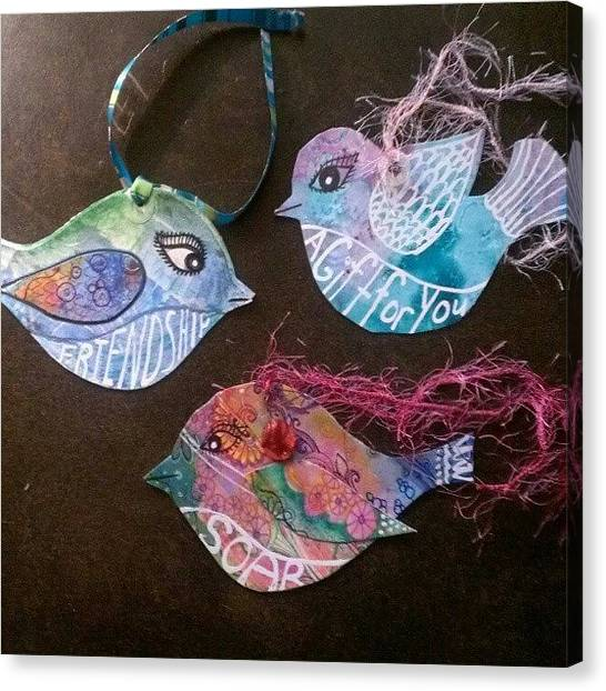 Robins Canvas Print - Bird Tags From Painted Papers by Robin Mead