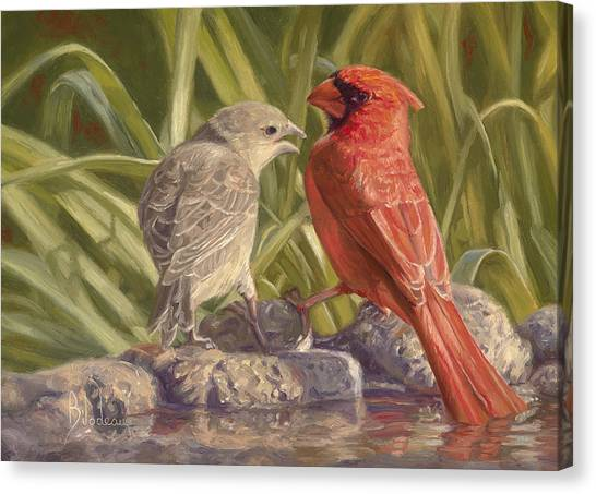Cardinals Canvas Print - Bird Talk by Lucie Bilodeau
