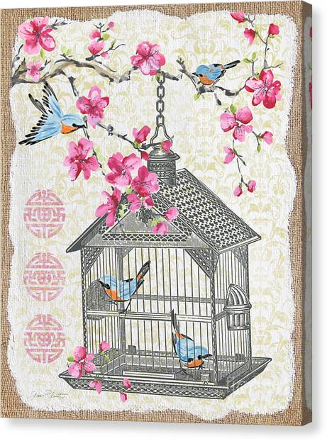 Blossom Canvas Print - Birdcage With Cherry Blossoms-jp2611 by Jean Plout