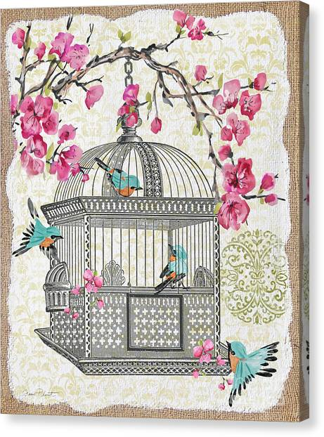 Blossom Canvas Print - Birdcage With Cherry Blossoms-jp2612 by Jean Plout