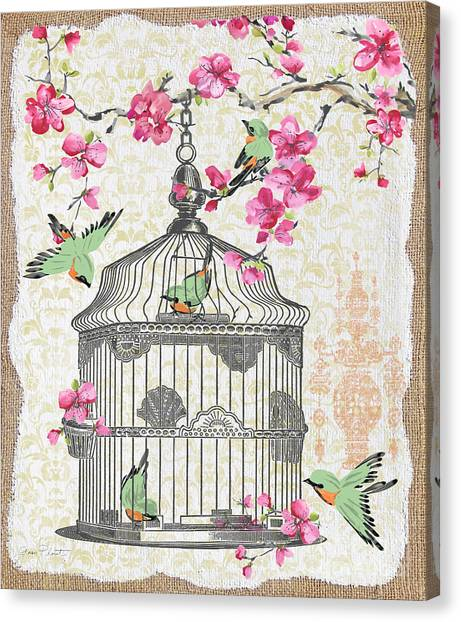 Blossom Canvas Print - Birdcage With Cherry Blossoms-jp2613 by Jean Plout