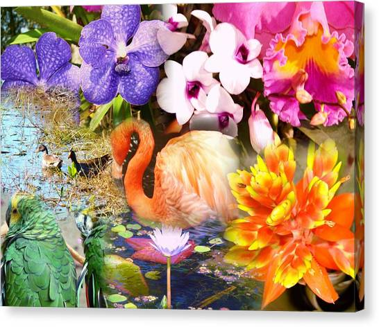 Birds And Flowers Canvas Print by Van Ness