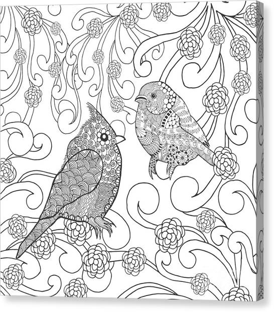 Branch Canvas Print - Birds Coloring Page. Animals. Hand by Palomita