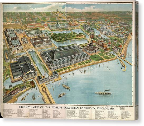 Vintage Chicago Canvas Print - Bird's Eye View Of The World's Columbian Exposition Chicago 1893 by Edward Fielding