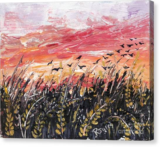 Birds In Wheatfield Canvas Print