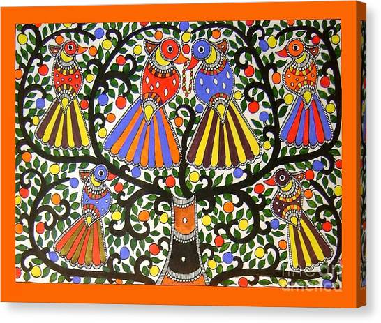 Birds-madhubani Painting Canvas Print