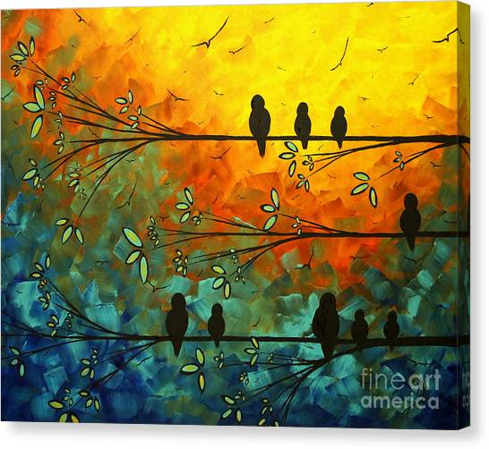 Canvas Print - Birds Of A Feather Original Whimsical Painting by Megan Duncanson