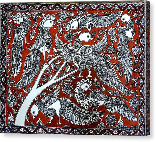Madhubani Canvas Print - Birds Of Eden by Deepti Mittal