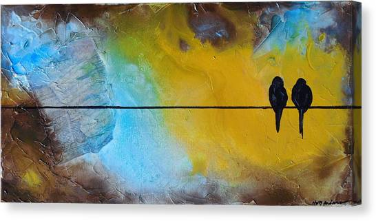 Birds On A Wire Lovebirds Canvas Print