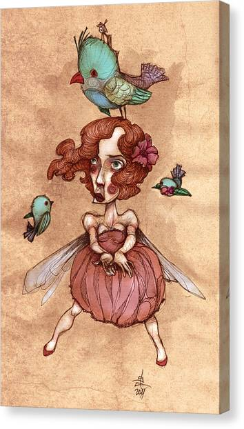 Retro Styled Canvas Print - Birds On Head Woman by Autogiro Illustration