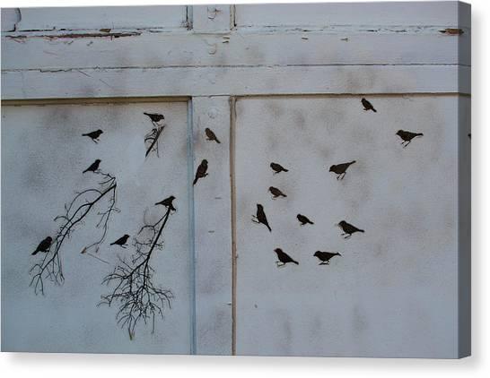 Birds On The Garage Canvas Print