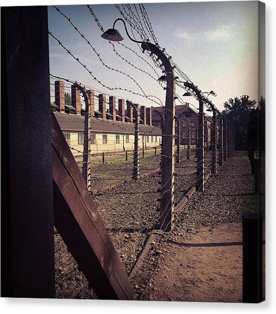 War Canvas Print - Birkenau Concentration Camp Museum by Elena Tchoujtchenko