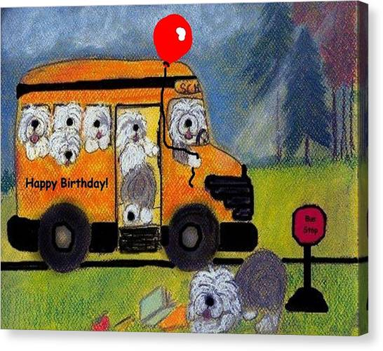 Birthday Bus Canvas Print