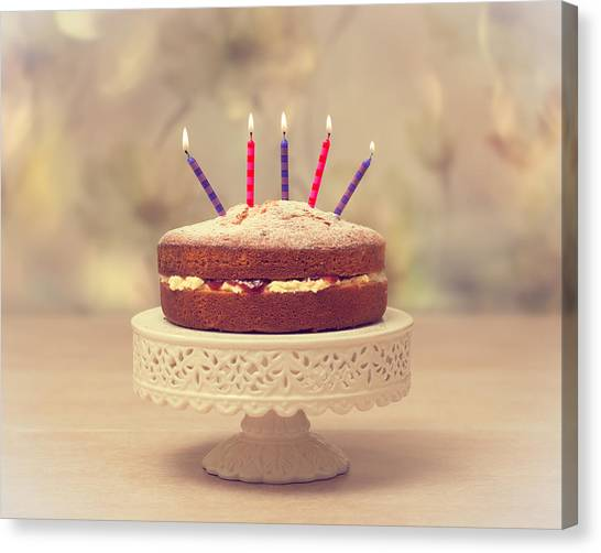Candle Stand Canvas Print - Birthday Cake by Amanda Elwell