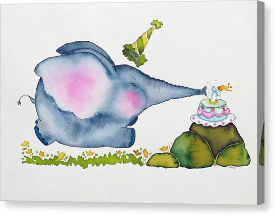 Happy Birthday Canvas Print - Birthday Elephant by Maylee Christie