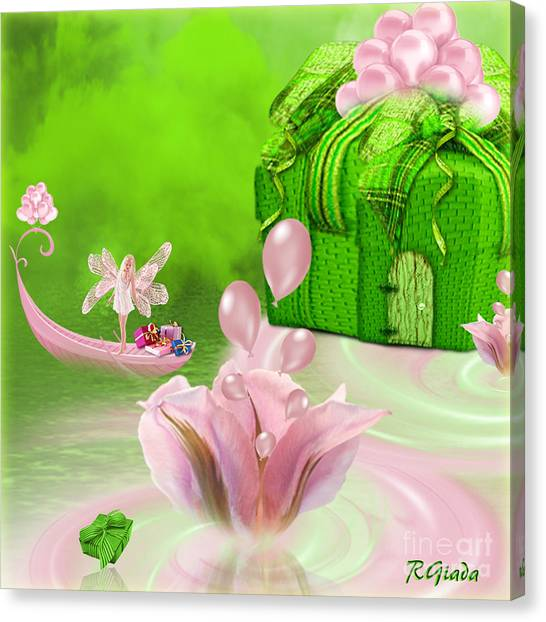 Birthday Fairy Goes To Work - Fantasy Art By Giada Rossi Canvas Print