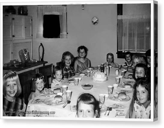 Birthday Party Table Grove Illinois 1957 Canvas Print