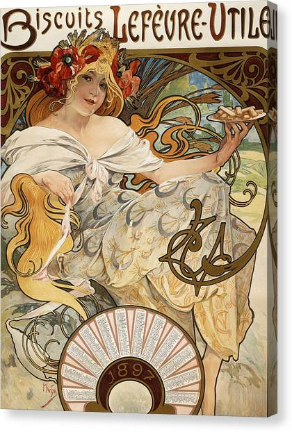 Biscuits Canvas Print - Biscuits Lefevre-utile by Alphonse Marie Mucha
