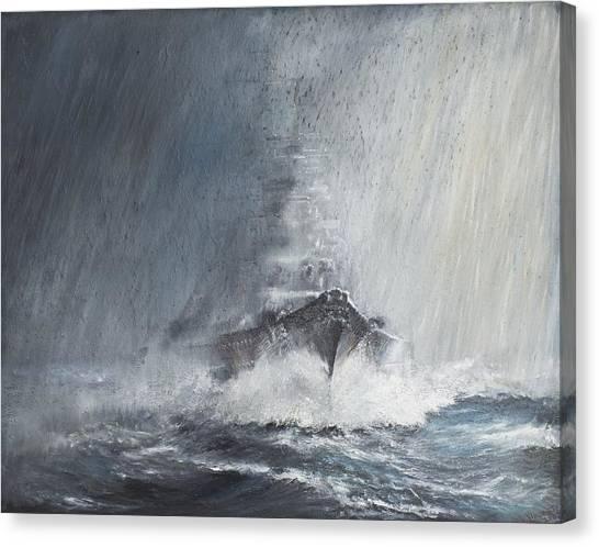 Battleship Canvas Print - Bismarck Through Curtains Of Rain by Vincent Alexander Booth