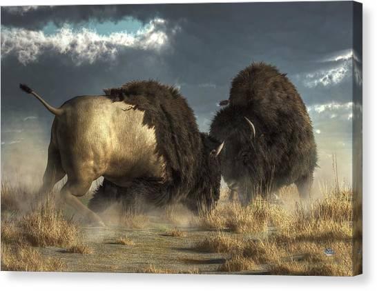 Canvas Print featuring the digital art Bison Fight by Daniel Eskridge